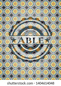 Able arabesque style badge. arabic decoration.