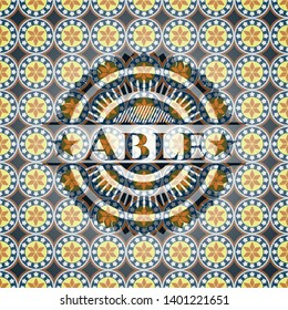Able arabic style emblem. Arabesque decoration.