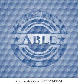 Able blue polygonal badge. Vector Illustration. Detailed.