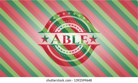 Able christmas badge background. Vector Illustration. Detailed.