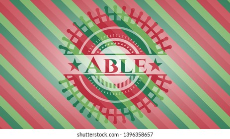 Able christmas colors style emblem. Vector Illustration. Detailed.