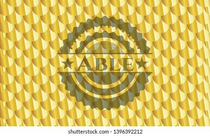 Able gold emblem. Scales pattern. Vector Illustration. Detailed.
