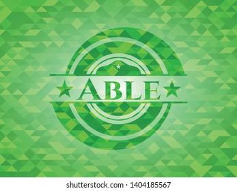 Able green emblem. Mosaic background. Vector Illustration. Detailed.