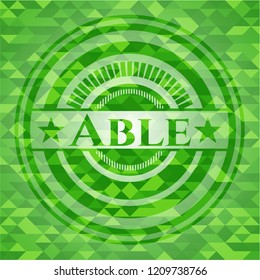 Able green emblem with triangle mosaic background