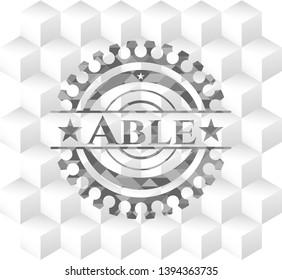 Able grey emblem. Retro with geometric cube white background