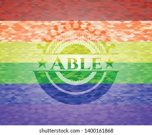 Able lgbt colors emblem. Vector Illustration. Mosaic.