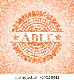 Able orange tile background illustration. Square geometric mosaic seamless pattern with emblem inside.