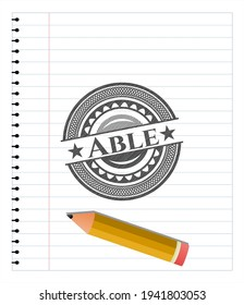 Able penciled. Vector Illustration. Detailed.