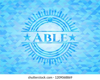 Able realistic light blue emblem. Mosaic background
