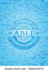 Able sky blue emblem with triangle mosaic background