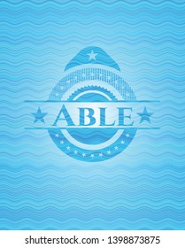 Able sky blue water wave style badge. Vector Illustration. Detailed.