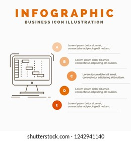 Ableton, application, daw, digital, sequencer Infographics Template for Website and Presentation. Line Gray icon with Orange infographic style vector illustration
