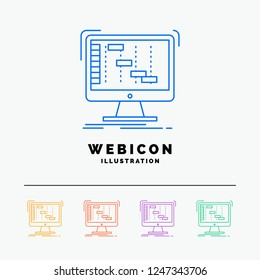 Ableton, application, daw, digital, sequencer 5 Color Line Web Icon Template isolated on white. Vector illustration