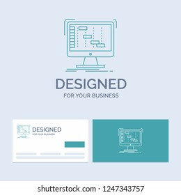 Ableton, application, daw, digital, sequencer Business Logo Line Icon Symbol for your business. Turquoise Business Cards with Brand logo template