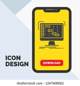 Ableton, application, daw, digital, sequencer Glyph Icon in Mobile for Download Page. Yellow Background