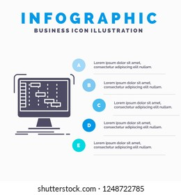 Ableton, application, daw, digital, sequencer Infographics Template for Website and Presentation. GLyph Gray icon with Blue infographic style vector illustration.