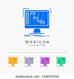 Ableton, application, daw, digital, sequencer 5 Color Glyph Web Icon Template isolated on white. Vector illustration
