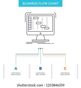 Ableton, application, daw, digital, sequencer Business Flow Chart Design with 3 Steps. Line Icon For Presentation Background Template Place for text