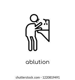 ablution icon. Trendy modern flat linear vector ablution icon on white background from thin line Hygiene collection, outline vector illustration