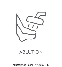 ablution linear icon. Modern outline ablution logo concept on white background from Hygiene collection. Suitable for use on web apps, mobile apps and print media.