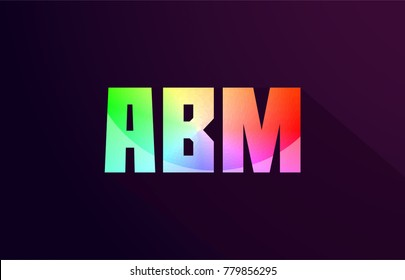 abm a b m letter combination alphabet logo icon design with rainbow color and purple black background