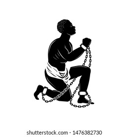 Abolition Of Slavery Amendment. Chained slaves hope for freedom illustration.