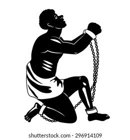 Abolition Of Slavery. Abolition Of Slavery Amendment. Slavery Picture. Towards Freedom. Man In Chains. Slave Owners. Vector Figure. Strong Man. Will To Live. Vector Illustration: Captive Man, Slave.