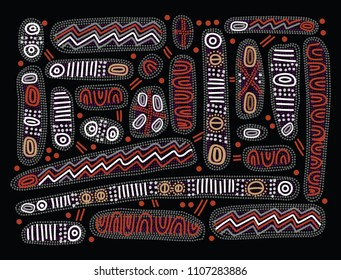 Aboriginal art vector background. Australian aboriginal dot painting style.