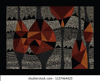 Aboriginal art vector background. Australian aboriginal dot painting style