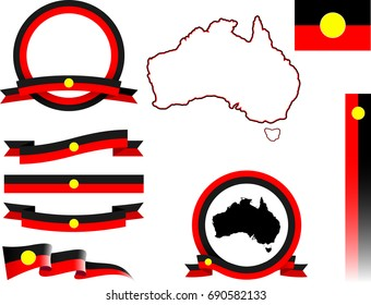Aboriginal Australia Banner Set. Vector graphic banners and ribbons representing the Aboriginal Peoples of Australia.