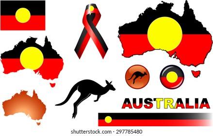 Aboriginal Australia Icons. Set of vector graphic images representing Aboriginal Australia.
