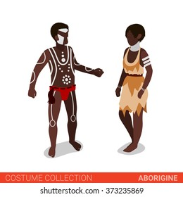 Aborigine Australian couple. Flat 3d isometric web site vector illustration. People in traditional costume collection.