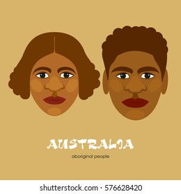 Aborigines - the indigenous people of Australia. Man and woman. Vector illustration.