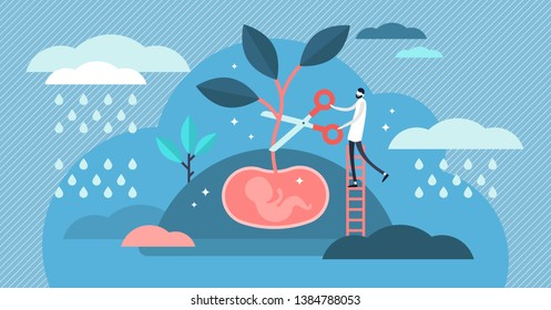 Abortion vector illustration. Flat tiny stop baby pregnancy persons concept. Mothers choice to cancel unborn child with gynecology doctor surgery. Maternity health danger with infant life exclusion.