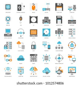 about computer flat icon, cloud technology, computer accessory, isolated on white background