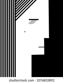 about woman concept, woman profile created the geometric shape in black and white, woman portait    in simple style, vector