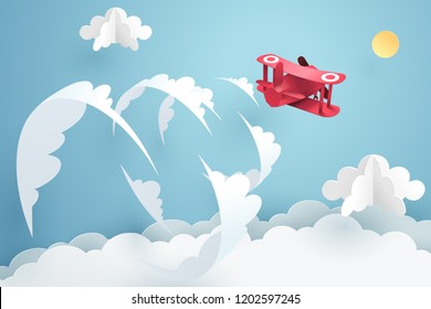 Above the clouds, Paper art of red airplane flying over the sky and break the sound barrier, vector art and illustration.