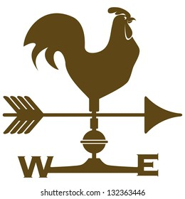 Above the roof of the farmhouse is a rooster