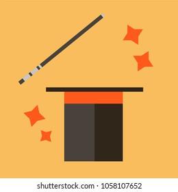 Abracadabra cartoon concept. Magic wand with stars sparks above black magic hat. Abracadabra flat design on orange background.