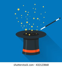 Abracadabra cartoon concept. Magic wand with stars sparks above black magic hat. Abracadabra flat design with long shadow on blue background.