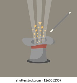 Abracadabra concept. Magic wand with stars sparks above magic hat with red ribbon. Vector isolated illustration