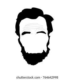 Abraham Lincoln, an American statesman and lawyer. Black and white illustration