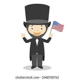 Abraham Lincoln cartoon character. Vector Illustration. Kids History Collection.