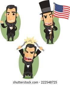 Abraham Lincoln Government Abolitionist Freedom President of the united states of america, vector illustration cartoon.