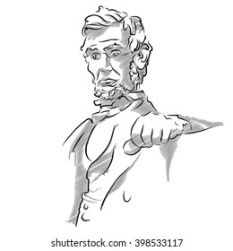 Abraham Lincoln Memorial Sketch, Vector Outline Version