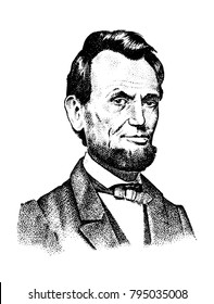 Abraham Lincoln portrait, 16th USA President. gentleman engraved hand drawn realistic in old vintage sketch.