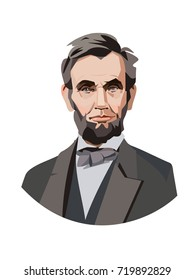 Abraham Lincoln, the sixteenth President of America. Vector portrait.