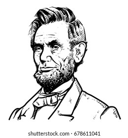 Abraham Lincoln Vector illustration, Abraham Lincoln Drawing outline, 16th U.S. President