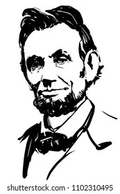 Abraham Lincoln. Vector portrait. Black and white drawing.