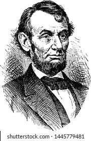 Abraham Lincoln, vintage engraved illustration